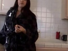 Chubby hairy masturbating in the kitchen