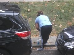 Curvy Latina Cleaning Her Car
