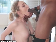 Small tits blonde Angel Smalls banged by strong african dick