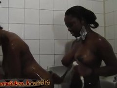 Ebonies Yvonne and Simone having fun in the shower