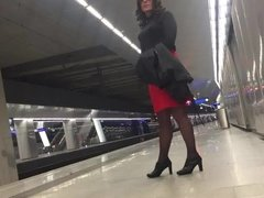 Train station hot skirt.mov