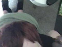 kacey blows black cock in public bathroom