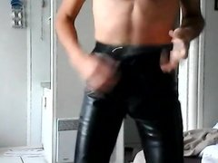 leather pants, stockings and garter belt 3