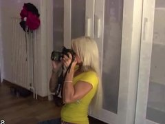 German Female Agent in Real Lesbian Casting with Skinny Teen