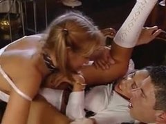 2 schoolgirls fucking, sucking and clearing up