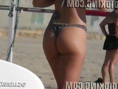 Slim waist big butt PAWG Brazilian in a thong bikini!