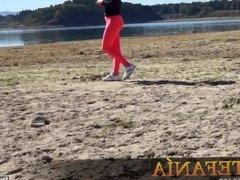 Hot cameltoe at lakeside