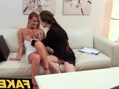 Female Agent Interview climaxes in hot pussy eating lesbian