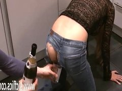 Brutally fisting his GFs loose gaping ass hole