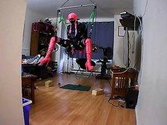 sissy's self bondage suspension