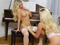 Blonde lesbian babes with big tits tease play in sexy white lingerie nylons