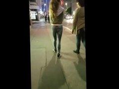 Nice teen small ass at night in Prague