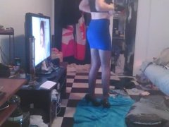 Sissy in Blue Pencil Skirt and Heels