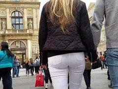 Nice Blonde's ass in Prague