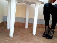 Dangling in new leather leggins legs
