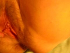 wife spreads her hairy pussy and asks for cum