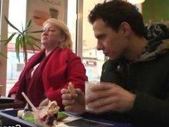 Huge grandma is picked up in cafe