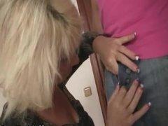 Blonde motherinlaw rides her daughter's man cock