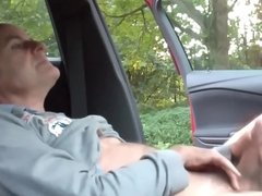 German man wanking in car.mp4