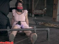 Gagged submissive chained and toyed by guy
