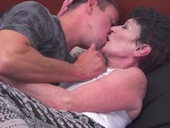 Old granny eats young dick and takes it in