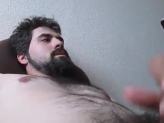 Cute Bearded Guy Shoots Cum on his Face