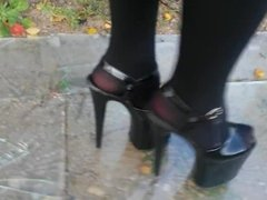 Walking on glass with extreme high heels