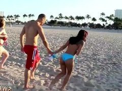 Amateur teen swallow first time Beach Bait