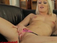 Toy pleasured domina rides her giant dildo