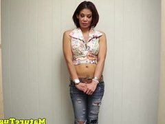 Cougar beauty facialized after POV handjob