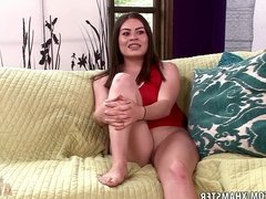 Hot Latina strips and fucks herself on the couch