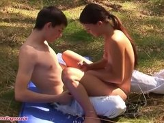 hot young girl with perfect small tits with young boyfriend