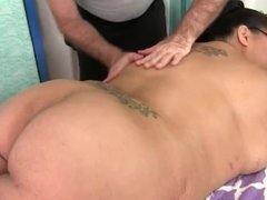 Giant boobed asian BBW gets a massage
