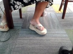 Candid mature bbw feet in library 3