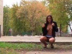 Gorgeous girl flashing in public 3