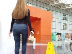 sexy girl in jeans with round ass