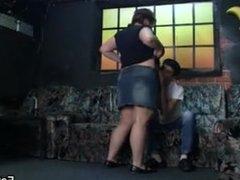 Big boobs woman rides his young cock