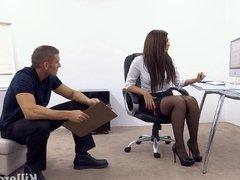 Big boobs office slut fucks big cocked stud