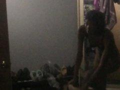 VOYEUR: Getting ready in the morning. Slim Ebony PT 2