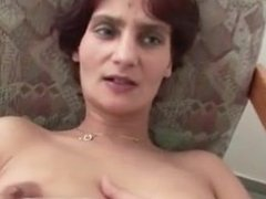 Masturbating the shaved pussy