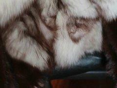 Fox fur stroke wearing mink