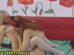 Redhead And Blonde In Hot Lesbian Action