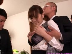 Big tits asian at the office playing with guys