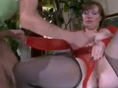 Sexy leg milf mom in stockings and heels jerks off with son