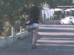 sexy shorts girl walking down the street-02.mp4