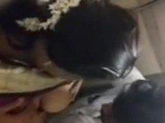 Satin Silk Saree Aunty in Train