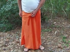 Pee in Orange Skirt in Maritime Forest 1 - Video 162.mp4