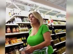Candid - Blonde MILF with HUGE TITS