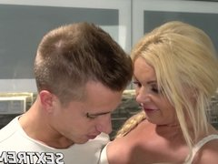 Big boobs blonde granny Franny fucked by big dick Oliver