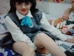 Latina teen on cam wearing schoolgirl outfit pt.1